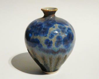 CRYSTALLINE GLAZED VASE Cobalt Blue Crystalline Glaze noble collectible stoneware ceramics