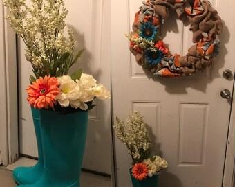 Rain boots floral arrangement