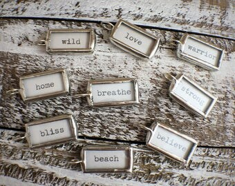 Soldered Glass Word Sticks - Boho Chic Positive & Aspirational words silver