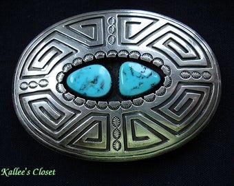 "VINTAGE Navajo Kingman Turquoise Silver Buckle ""Thomas Nez"" Hallmark"