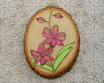 Pink Orchid Painting / Woodburning