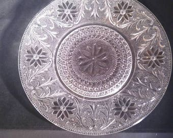 "10.25"" Early American Pressed Glass Round Platter, Cake Plate."