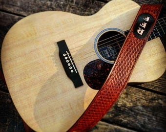 Custom Hand Tooled Leather Guitar Strap Basketweave