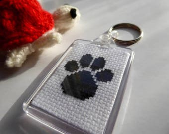 Paw Print Keyring: Handmade Cross-stitch Design