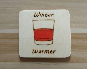 Whisky Wooden handmade coaster.
