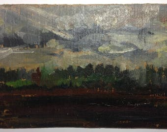 Vintage Painting Author Unknown  Oil painting Cloudy day Landscape Original painting