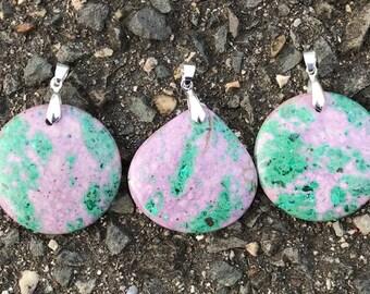 Green Sea Sediment Jasper Stone Pendants With Silver Plated Bail - Purple Jasper Pendant Necklace - Jasper Sea Sediment - Gift For Her