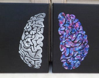 Narrow vs open minded. Original acrylic painting on canvas, brain modern art