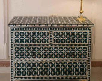 Mother of Pearl Inlay teal design Chest Of Drawers with four drawers - Bohemian Artefacts