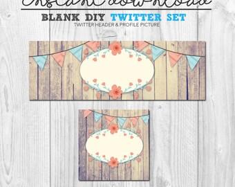 blank diy twitter set, premade vintage floral vector twitter header banner cover image set, instant download social media twitter design set