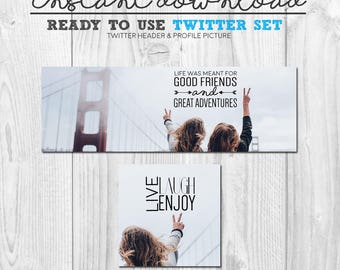 ready to use twitter set, premade instant download twitter graphics, twitter cover banner header avatar image package, great friends travel