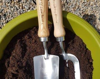 Personalised fork & trowel set, gardeners gift, grandad, gran, nana, mum,dad, garden tools