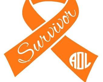 Cancer Survivor Monogrammed Ribbon - Leukemia Survivor - Leukemia Awareness - Cancer Awareness - Car Decal