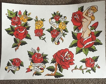 Sailor Jerry Traditional Tattoo Flash Roses and Women Original Art Print