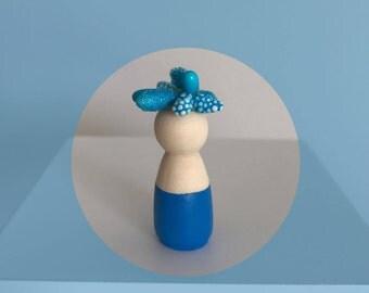 Blue Miniature Peg Doll