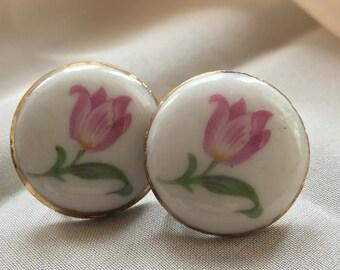 Vintage Screwback Earrings, Painted Pink Tulips
