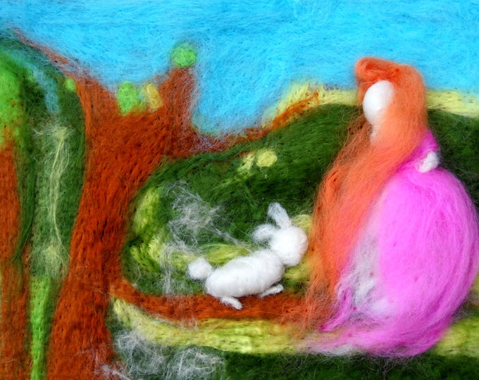 Felt Wall Art,Needle Felted Landscape art,Handmade Felt Picture,Felt painting,Textured felt,Felt painting,Handmade Felt Doll,felt rabbit,3d