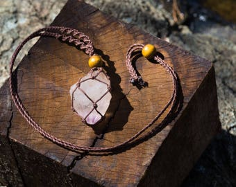 Crystal Macrame Necklace - Quartz Crystal with Amethyst Inclusions