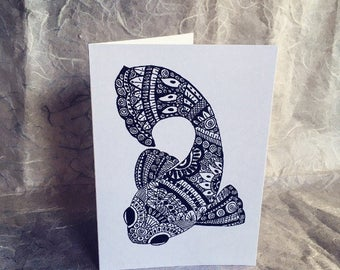 Hand drawn Fish greetings card blank for any occasion