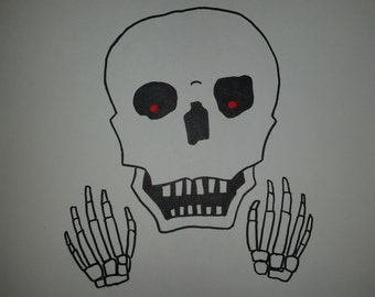 Surprised Skull ink drawing