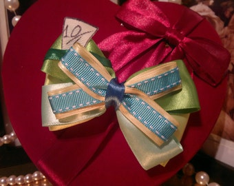 Disney Alice in Wonderland, Mad Hatter  inspired, Handmade Hair Bow