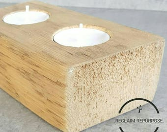 Natural wood tea light holder / locally sourced / reclaimed wood / candle / gift / housewarming/anniversary