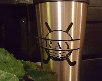 Custom golf travel mug with name