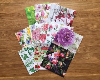 10 paper napkins for decoupage , decoupage napkins, flower napkins, decoupage paper