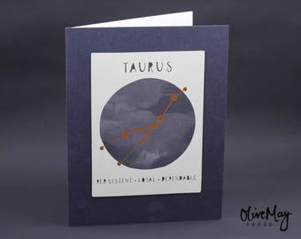 Indigo blue copper foil Taurus zodiac greeting card