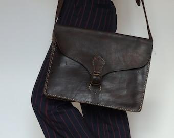 Handmade Leather Satchel Mens / Messenger Bag / Shoulder Bag / Hand Stitched / Black