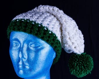 Chunky long white and green bobble hat