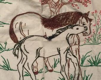 Horse Scene Sewn into Cloth