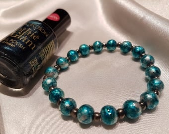 Bold blue handmade bead bracelet and polish gift set