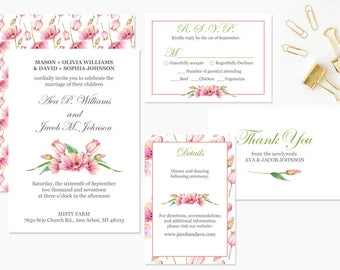 Printable Wedding Invitation set. Wedding Invite Templates, with rsvp, details and thank you cards.  Instant Download PDF Template #FPK-06ls