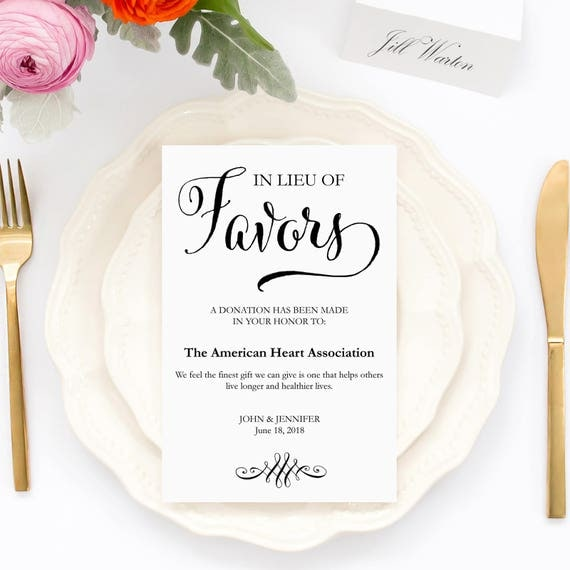 Wording For Money In Lieu Of Wedding Gifts: Wedding Donation Cards In Lieu Of Favors Cards Charity
