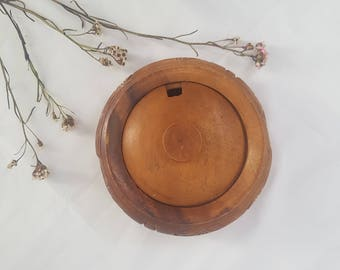 Vintage Sugar Bowl // Handcarved Engraved Timber