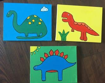 Dinosaur canvas - set of 3