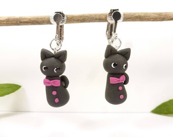 fimo clips black cat childrens earrings