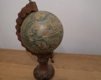 Vintage Globe, wooden stand, 8 inch, latin world globe