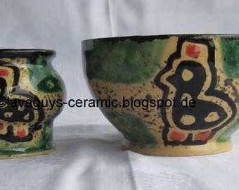 Bowl and sugar pot by the famous Kazury pottery from Kenya