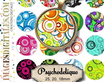 PSYCHEDELIQUE ID Digital Collage Sheet Printable Instant Download for art jewelry scrapbooking bottle caps magnets pins