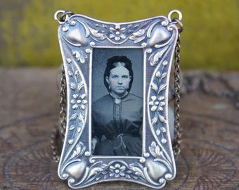 French Brass Framed Tintype Photo Necklace OOAK