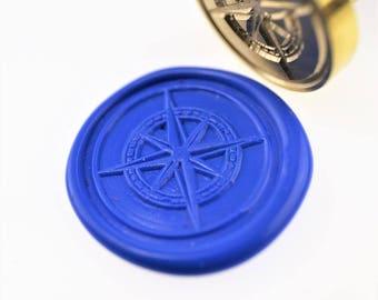 Compass wax seal stamp/ wax sealing kit /Custom wedding seals/wedding invitation seal/SS063