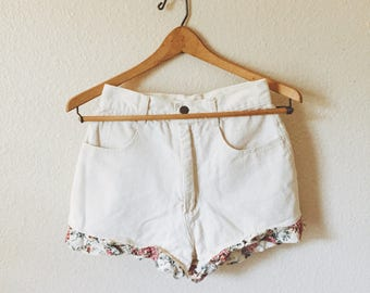 Vintage High Waisted Shorts with Floral detail