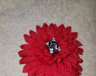 Red Dahlia with 4 black Skulls