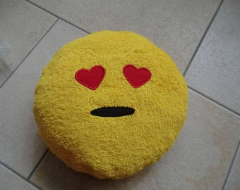 Emoji-pillow, yellow Terry cloth,.
