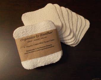Organic Cotton Mini Facial Cloths- 8 pack