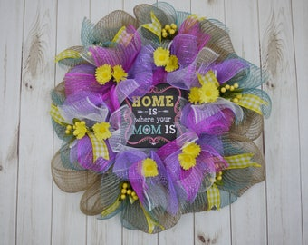 Free Shipping, All Occasions, Summer Wreath, Spring Wreath, Mother's Day Wreath, Mom, Mother, Mom Sign, Flower Daisies, Door Decor, Home