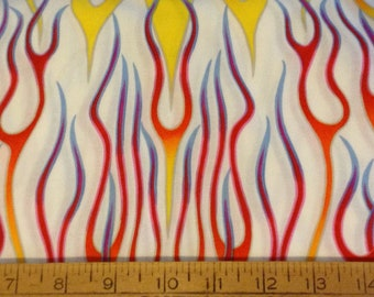 Flames cotton fabric by the yard