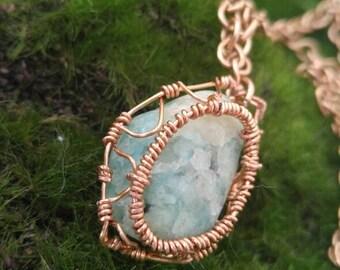 Blue Aragonite Pendant Necklace